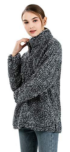 Pullover Zip Colletto Allentato Maglione Stand Manica Sherpa Moda Nero Lunga 1 4 Hoodie Donna Fleece YExqwEA