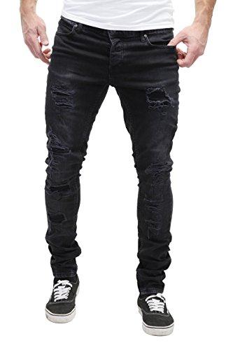 Fit Stretta 5 Decorative Uomo wash Contrasto Modello Altamente Nero Gamba Merish Distrutto Jeans Dettagliato Stile Pocket In Slim Elaborazione HYqwxSv5