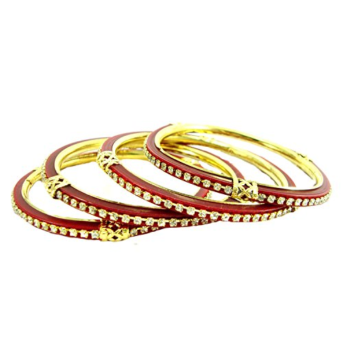 Biyu Traditional Red Gold Plated Plastic 4Pc Bangles For Women/Girls