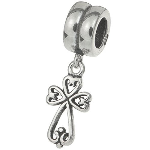 925 Sterling Silver Little Filigree Holy Jesus Christ Cross Dangle Bead For European Charm Bracelet