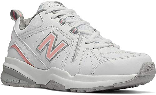 New Balance Women's 608v5 Casual Comfort Cross Trainer, White/Pink, 10 B US