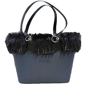 OBAG Borsa o bag urban blu navy compresa di sacca, bordo ecopelliccia manico lungo slim nero 36
