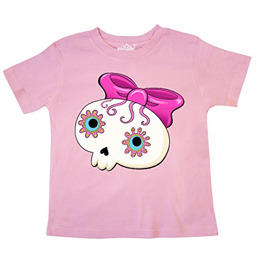 inktastic - Cute Sugar Skull with Bow for Day of Toddler T-Shirt 5/6 Pink -