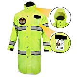 KwikSafety TORRENT   High Visibility Class 3 Safety Trench Coat   Waterproof Windproof Safety Rain Jacket   360° Hi Vis Reflective ANSI Compliant Work Wear   Rain Gear Hideaway Hood Carry Bag   XL