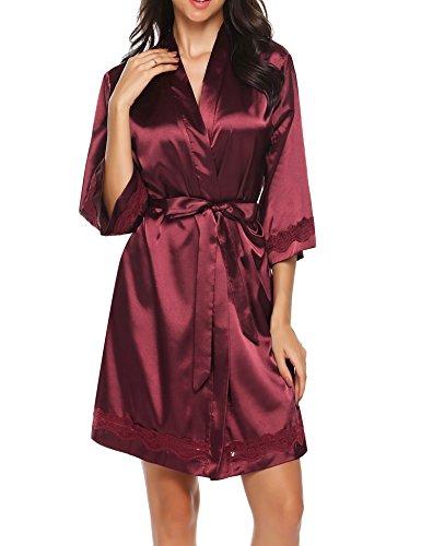 Ekouaer Elegant Bride & Bridesmaid Kimono Robe Comfortable Luxurious Nightgown(Wine Red/M)
