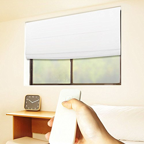 Godear Design Cordless Roman Shades, Motorized-Remote, Thermal Insulated Blackout Curtain – 31″ W x 64″ H, White