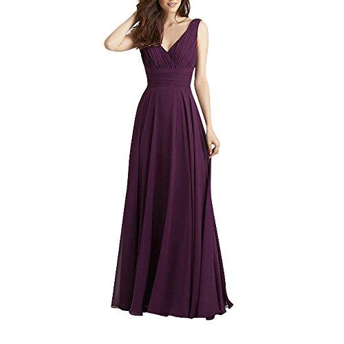 Chiffon Traube A Brautjungfernkleider V Damen Charmant Abendkleider Neu Traube FOrmalkleider Elegant linie Lang ausschnitt xYv4Extw