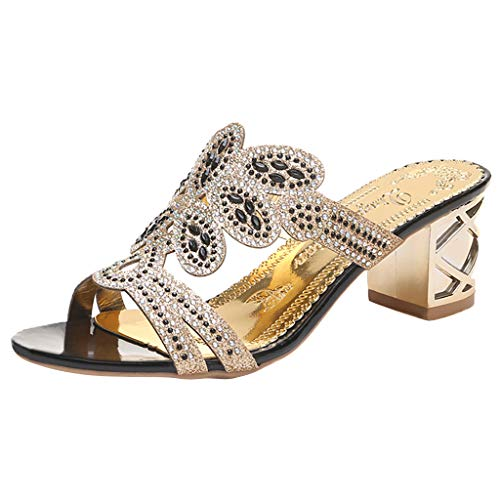 Sunhusing Women Stylish Trend Bohemian Crystal Rhinestone Thick with Roman Shoes Peep Toe Sandals Slippers Black