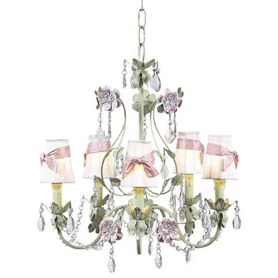 Jubilee Collection 7486-2412-309 5 Arm Mocha/Pink Flower Garden Chandelier with Plain Pink Shade and Sash