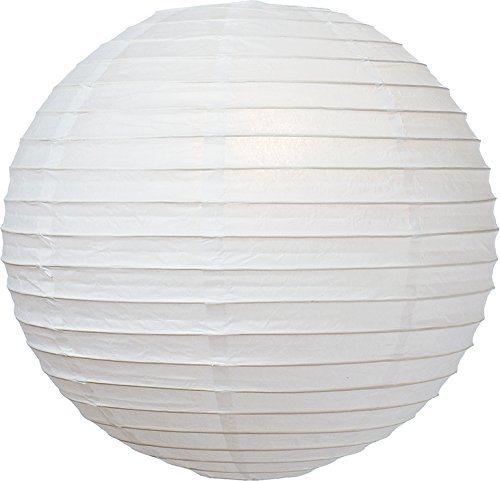 (Luna Bazaar Premium Paper Lantern, Lamp Shade (24-Inch, Parallel Style Ribbed, Perfect White) - Rice Paper Chinese/Japanese Hanging Decoration - for Home Decor, Parties, and Weddings)