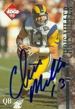 Chris Miller Autographed Football Card (Los Angeles Rams) 1995 Collectors Edge No.113 ()