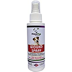 Primo Pup Vet Health - Antiseptic Wound Spray for Dogs - with Aloe, Calendula Flower & Eucalyptus Leaf - Veterinarian Formulated to Kill Germs, Soothe Cuts, Protect & Help Skin Heal - 4 fl oz