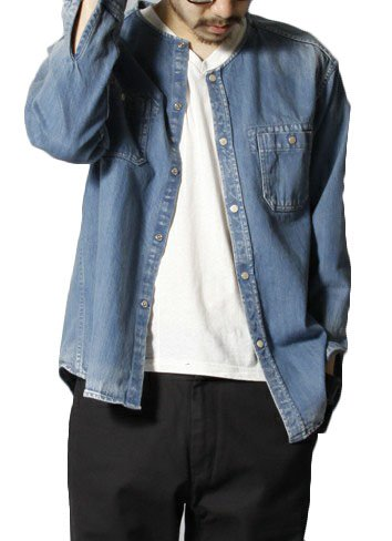 (アズールブリーズ)AzureBreezeNU-396ジャンパーMA-1メンズデニムブルゾンジャケットジーンズコートシャツ 長袖 ノーカラー(L,ブルー)