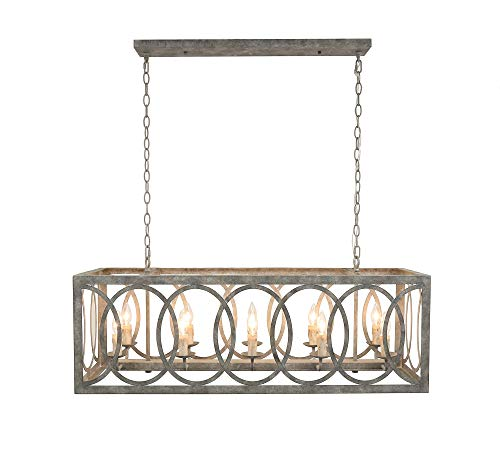 (Thiago Rectangular Gray 10-Light Chandelier )