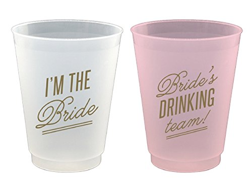 Reusable Frost Flex Cups I'm The Bride & Bride's Drinking Team - 8 Piece Set, 16oz (Bride Cups compare prices)