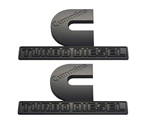 Aimoll 2pcs Cummins Turbo Diesel Emblems,3D Decal Badges for Dodge Nameplate Emblem Mopar (Matte ()