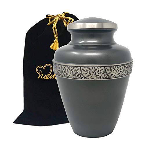 (MEMORIALS 4U Ashen Pewter Cremation Urn - Brass Urn for Human Ashes - Large Pewter Urn - Handcrafted Affordable Urn for Ashes - Adult Urn with Free Bag)