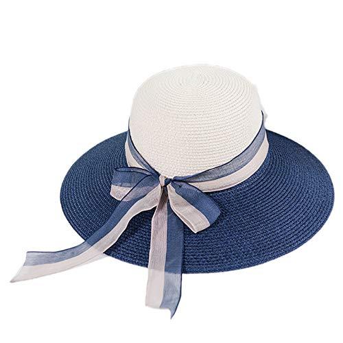 Kentop - Sombrero de Paja para Mujer, ala Ancha, Sombrero Plegable ...