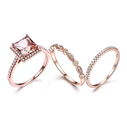 7mm Princess Cut VS Pink Morganite Diamond Halo Deco Ring,14k Rose Gold Half Eternity Wedding Band (Round Vs Princess Cut)