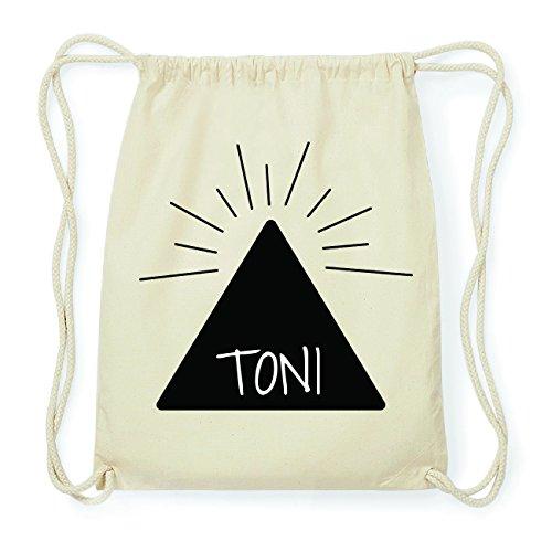 JOllify TONI Hipster Turnbeutel Tasche Rucksack aus Baumwolle - Farbe: natur Design: Pyramide wBiB5Y