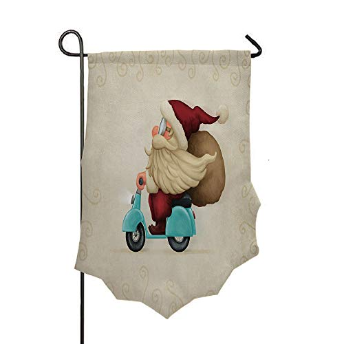 Double Sided 3D Printed Garden Flag,Presents on His Motorcycle Swirled Lines Frame,Holiday Decorations Outdoor Garden Flag Durable Cotton and Linen