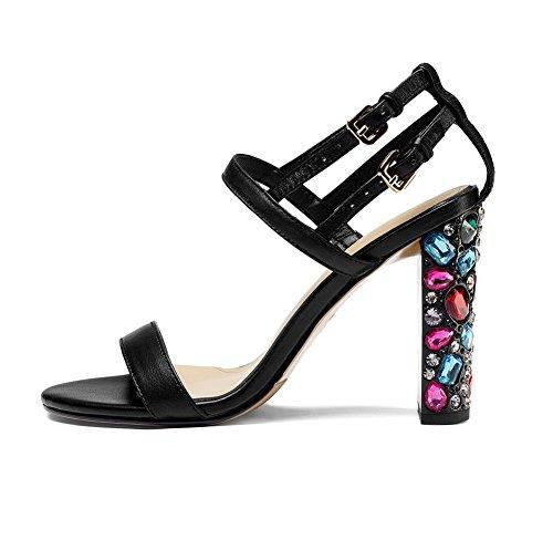 Noir Épaisses NVXIE Chaussures Noir Open Bloc Or Cheville Toe Taille Strass Club Sandales Talon Femme tqwfqnzxr1