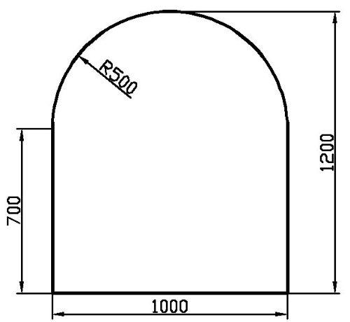 Kaminbodenplatte aus Klarglas - Rundbogen: b 1000 mm x l 1200 mm - kostenlose Lieferung
