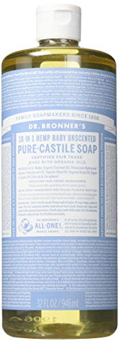 Dr. Bronners 32 Ounce Pure Castile Soap - Liquid44; Unscented44; Baby Mild