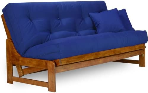 new concept 00350 ce371 Arden Futon Set - Full Size Futon Frame with Mattress Included (8 Inch  Thick Mattress, Twill Royal Blue Color), More Colors Available, Heavy Duty  ...