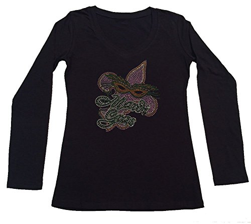 Womens Fashion T-Shirt with Mardi Gras Mask and Fleur de lis in Rhinestuds (Large, Black Long Sleeve)