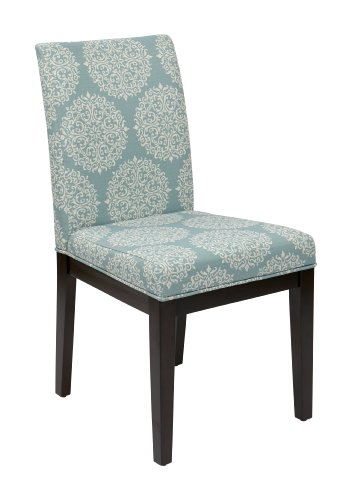 Espresso Finish Wood Side Chairs - AVE SIX Dakota Upholstered Parsons Chair with Espresso Finish Wood Legs, Gabrielle Sky