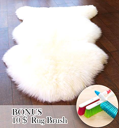 ABUSA Genuine Australian Sheepskin Rug Chair Cover Seat Pad Shaggy Area Rug for Couch Sofa Floor One Pelt Ivory White 3.9 x2.2 ft
