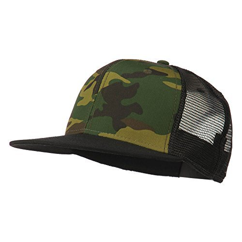 Camouflage Cotton Flat Bill Trucker Cap - Black Camo (Camo Trucker Hat Cap)