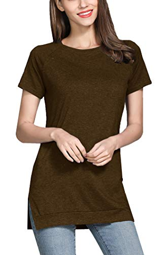 - GSVIBK Womens Short Sleeve Side Split Tunic Round Neck Casual Soft Blouse Top T-Shirt 212 Brown S