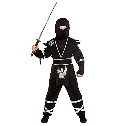 Boys Ninja Assassin Black Silver Fancy Dress Up Party Costume Halloween Outfit - Halloween Outfits Uk