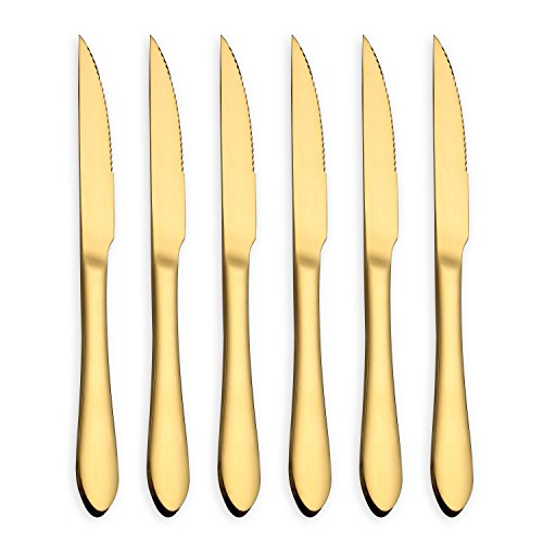 - HOMQUEN Gold Steak Knife Set, Stainless Steel and Durable comfortable grip handle, Mirror Polish and Gold Titanium Plated, for Pizza or Steak (Gold, Set of 6)