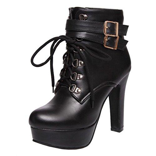 COOLCEPT Damen Mode Zipper Ankle Stiefel Schnurung With Belt Buckle Black