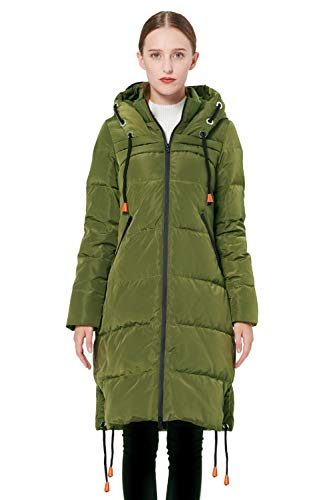 Orolay Women's Thickened Contrast Color Drawstring Down Jacket Hooded ArmyGreen 2XL ()
