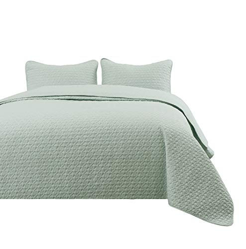 Madison King/Cal-King Size 3pc Quilted Bedspread Aqua Green Color Bed Cover Set, Thin Extra Light Weight and Oversized - Aqua Green Light