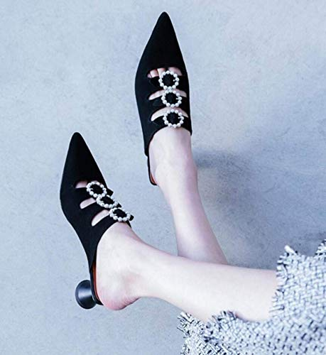 Con Sandalias Tamaño 40 Negro Cuero Eu Zapatos De Mujer Punta color Negro Hhgold En US6twq6H