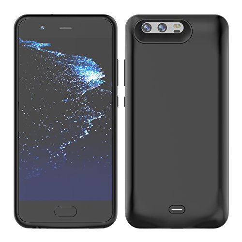 Huawei P10 Plus Battery Case, FugouSku 5500mAh Portable Rechargeable Extended Backup Battery Charging Juice Pack External Power Bank Protective Case Cover for Huawei P10 Plus 2017 Smartphone (Black)