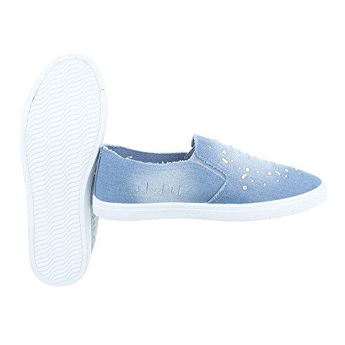 Ital-Design Sneakers Low Damenschuhe Schnürsenkel Freizeitschuhe Hellblau FC-V201