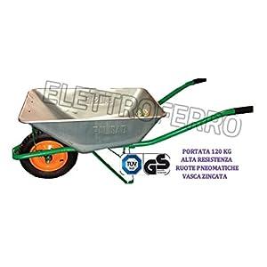 Carriola in Pvc Indeformabile per Giardino con ruota pneumatica Maurer 100Lt