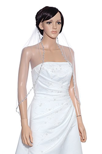 1T 1 Tier Pearl Silver Beads Flower Bridal Veil - White Elbow Length 30