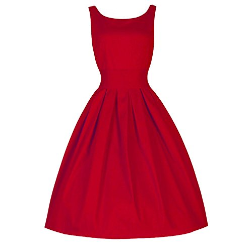 Mikey Store Women Elegant Party Casual Dress Vintage Style Swing Retro Party Evening Dress (Medium, Red) -