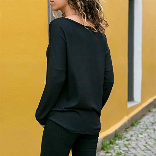 Tee Longues Shirts Manches Fashion Hauts et Pulls Printemps Casual Noir Automne Femmes T JackenLOVE Jumper Patchwork Tops Chemisiers Blouse WqwS10fW6O