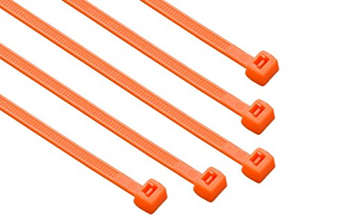 Orange Tie Wraps - South Main Hardware 848147 8-in 100-Pack, 75-lb, Hi-Vis Orange, Standard Nylon Cable Tie, 100 Piece