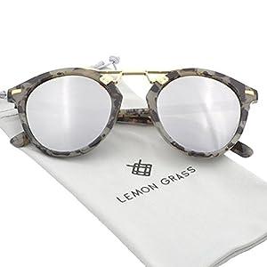 Womens Sunglasses Vintage Retro Round Mirrored Lens Horned Rim Sunglasses (Grey, Multicoloured)