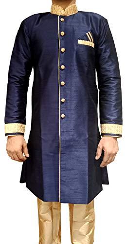 Tathastu Mens Sherwani Kurta Pyjama Set - Blue - 3043B - 48