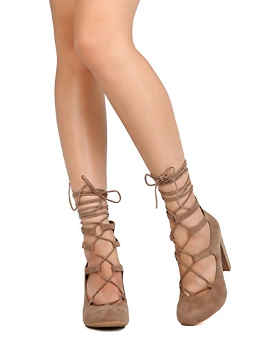 Mark Maddux FD52 Women Faux Suede Lace Up Caged Ankle Wrap Chunky Heel Pump - Taupe K5wTYAzFn